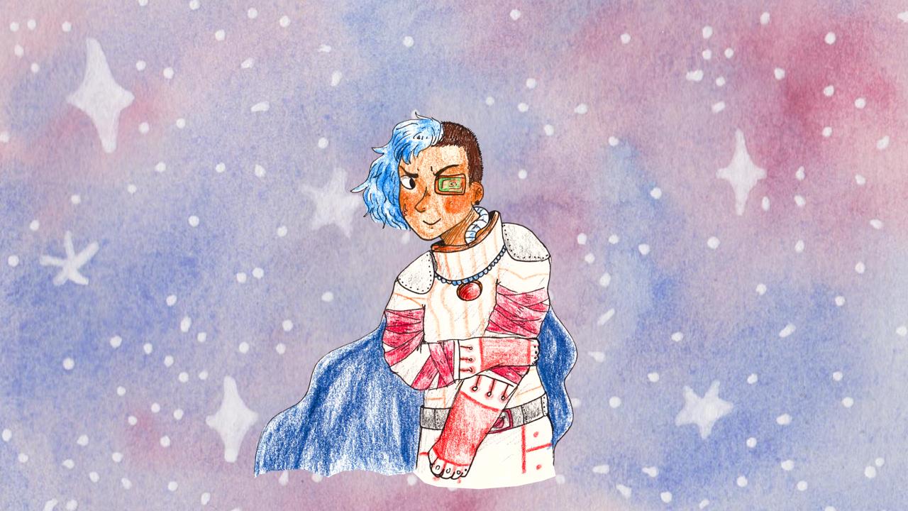 Magnifique pirate de l'espace avec un side cut bleu et un fond de l'espace à l'aquarelle